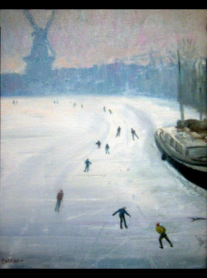 Skaters by a Windmill (9808)